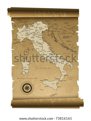 Old paper Italy map, vector illustration - stock vector