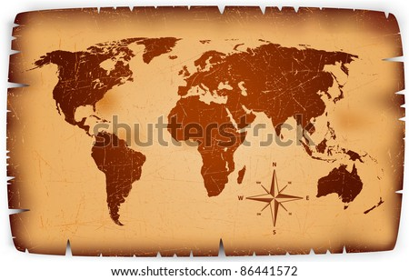 Old paper Map vector - stock vector