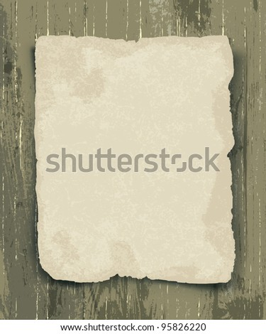 Old paper on the wood background - stock vector