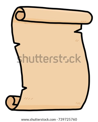 old paper scroll / cartoon vector and illustration, hand drawn style, isolated on white background.