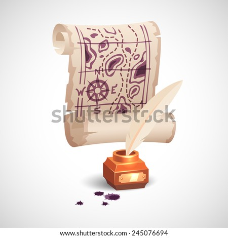 Old paper scroll map and golden inkwell with white feather. Realistic vector art illustration icon. - stock vector
