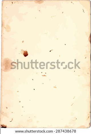 Old paper texture, grunge stained piece of paper - stock vector