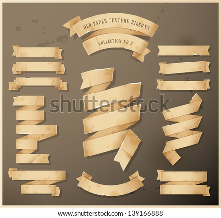Old paper texture ribbons - Collection No.2- Eps 10 - stock vector