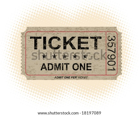 Old paper ticket with halftone background - VECTOR - stock vector