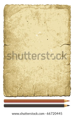 old paper with a pencil and crayon - stock vector