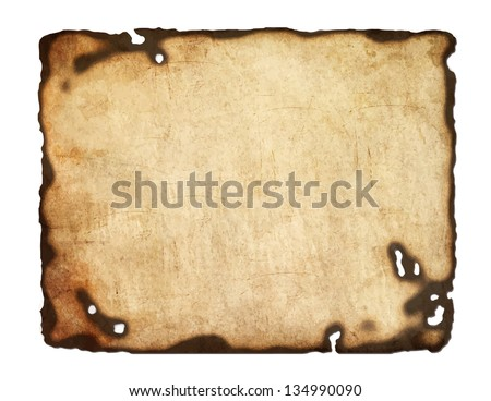Old  paper with burnt edges isolated on white background. Vector  eps8 - stock vector