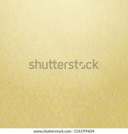 Old paper with embossed hearts (vector EPS 10) - stock vector