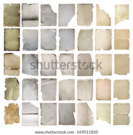 old papers set, vector. - stock vector