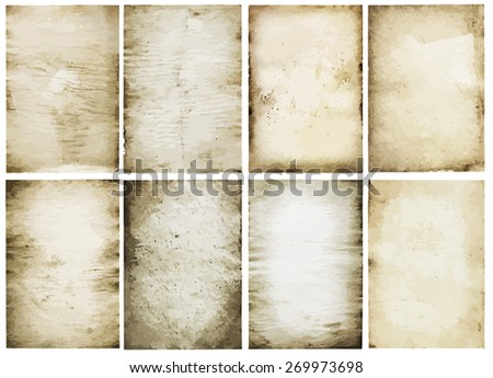 old papers set, vector - stock vector