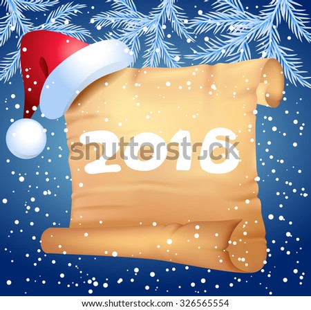 Old parchment and Christmas hat with decorative Christmas spruce branches - stock vector