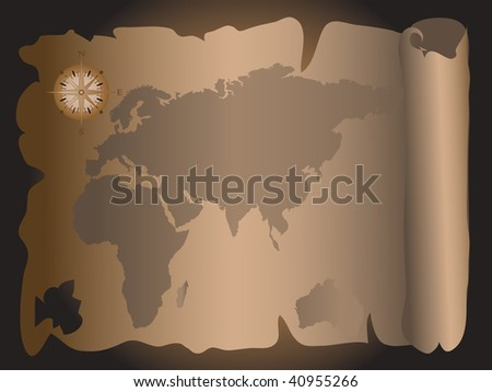 World Map On Parchment Paper Scroll Stock Vector - Us parchment map