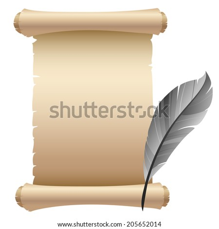 Old parchment paper with feather - stock vector