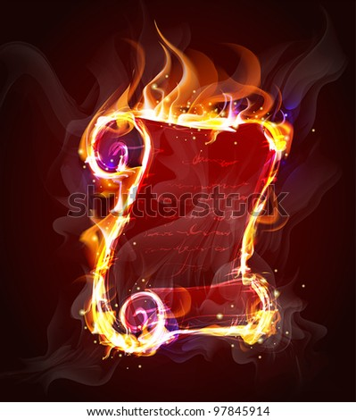 old parchment scroll of flames (Vector Illustratio) - stock vector