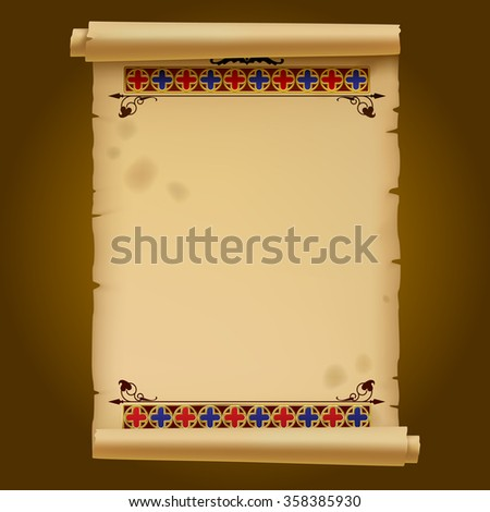 Old parchment with gold gothic ornament. Vector illustration - stock vector