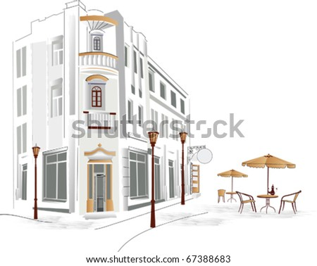 Old part of the city with street cafes - stock vector