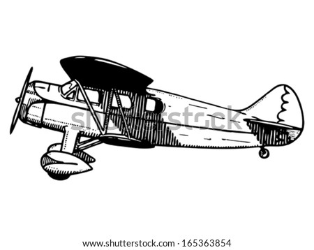Old passenger plane. Vintage style vector illustration. - stock vector