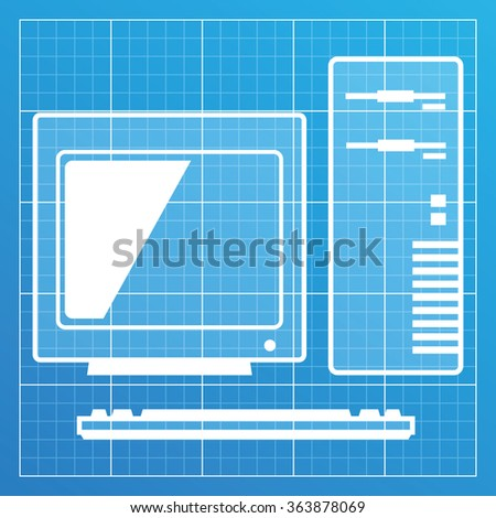 Old pc icon on blueprint paper stock vector 363878069 shutterstock old pc icon on blueprint paper vector illustration malvernweather Image collections