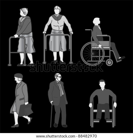 Old people and disabled persons, vector