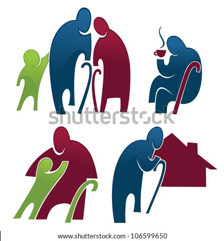 old people and retirement collection of images and symbols - stock vector