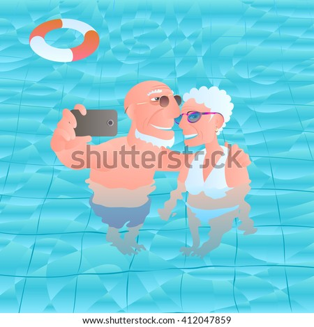 Old people swimming pool vector illustration stock vector for Pool design elements