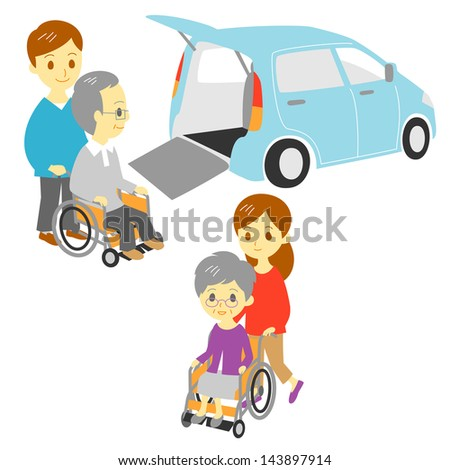 old people in wheelchair, drive and take a walk,  Adapted Vehicle, family