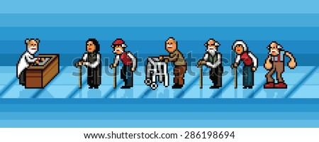 old people waiting in line in hospital pixel art style vector layers illustration - stock vector