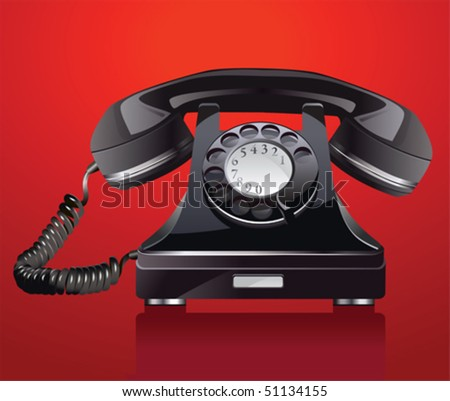 Old phone.  All elements and textures are individual objects. Vector illustration scale to any size. - stock vector