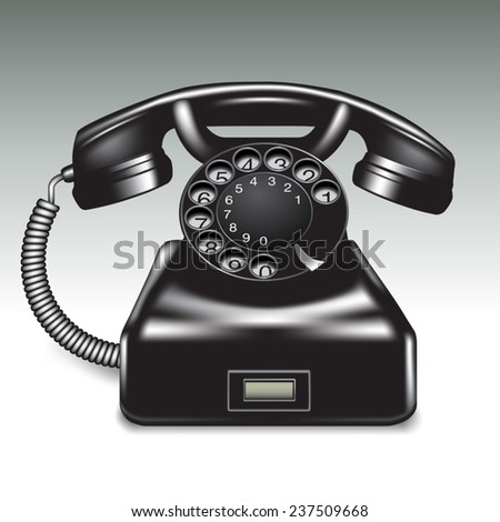 Old phone isolated on background. Vector illustration