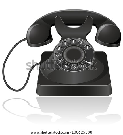 old phone vector illustration isolated on white background - stock vector