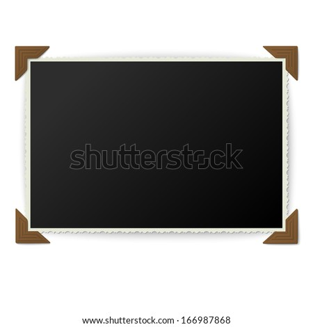 Old photo with corners isolated on white background - stock vector
