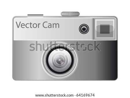 old photocamera - stock vector