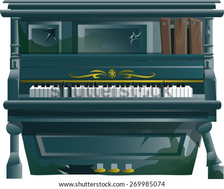 old piano - stock vector