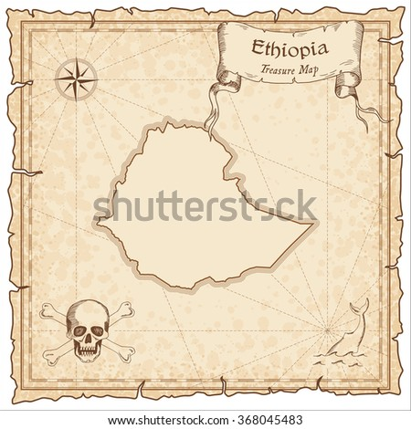 Old pirate map of Ethiopia. Sepia engraved template of Ethiopia pirate map. Treasure map on vintage paper.