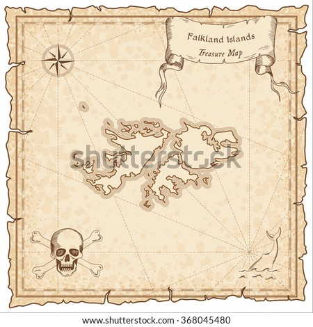 Old pirate map of Falkland Islands. Sepia engraved template of Falkland Islands pirate map. Treasure map on vintage paper.