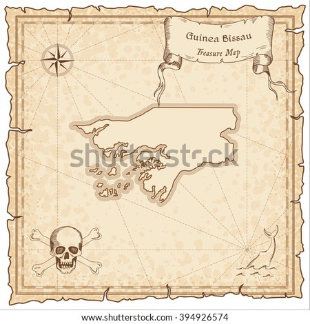 Old pirate map of Guinea Bissau. Sepia engraved template of Guinea Bissau pirate map. Treasure map on vintage paper.