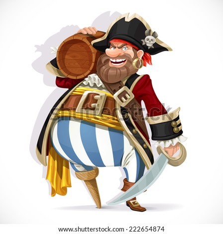 Old pirate with a wooden leg holding a keg of rum - stock vector