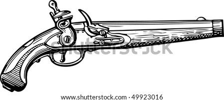 Old pistol - stock vector