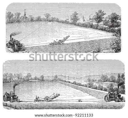 Old ploughs / vintage illustration from Meyers Konversations-Lexikon 1897 - stock vector