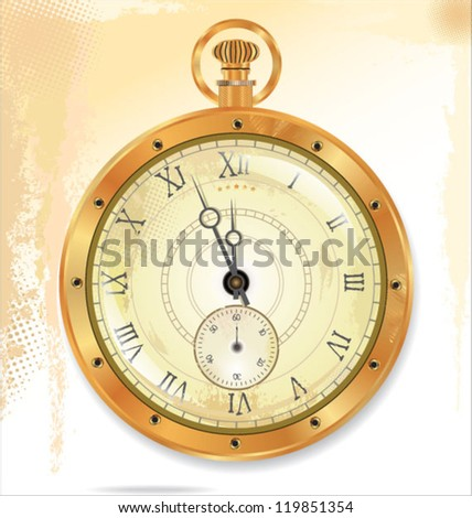 Old pocket gold watch detailed illustration. No transparency - stock vector