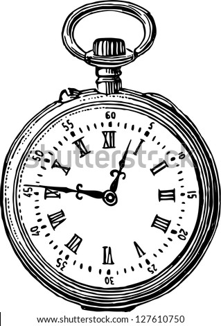 old pocket watch - stock vector
