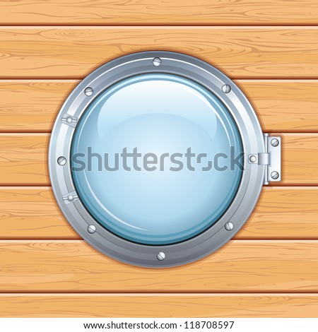 Old Porthole Window on a Wooden Ship Door or Shipboard