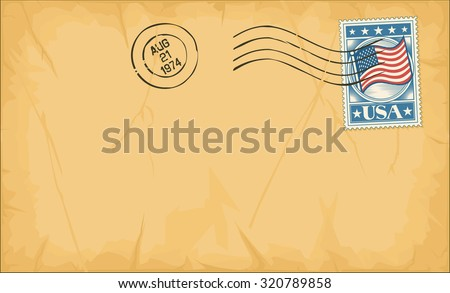 old postage envelope with stamp and rubber stamp - stock vector
