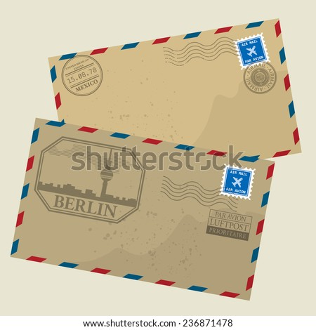Old postage envelopes with stamps, vector illustration - stock vector