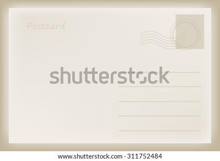 Old postcard.Vector template. - stock vector