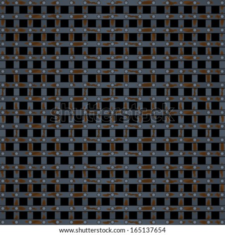 Old prison bars black - stock vector