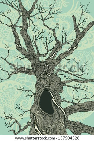 Old psychedelic tree hand-drawn illustration color version - stock vector