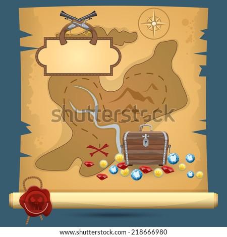 Old quest adventure pirate treasure paper map vector illustration - stock vector