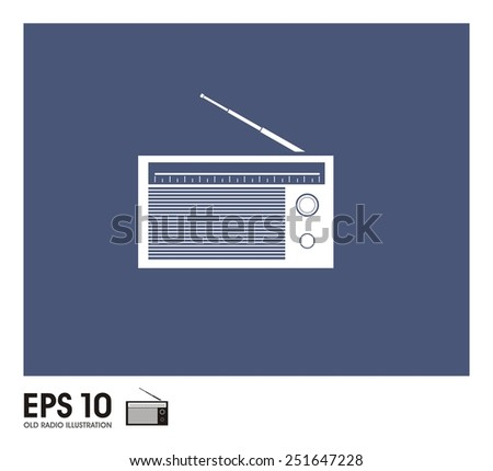 old radio illustration - stock vector