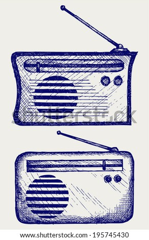 Old radio receiver. Doodle style - stock vector