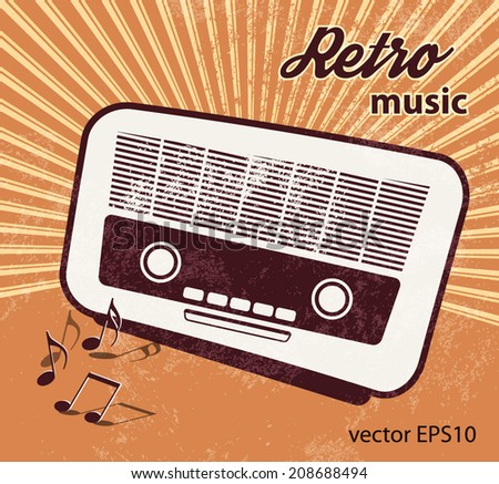 Old radio - retro style - music poster design - stock vector